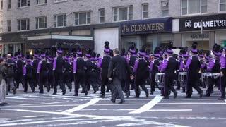 Band marching through 89th Macys Parade 4k