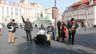 Band playing in downtown Prague square