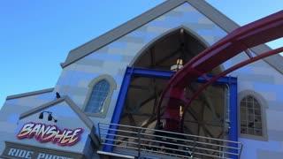 Banshee Roller Coaster leaving station