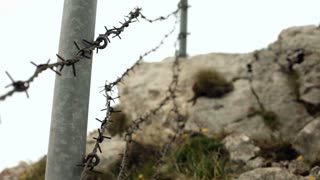 Barbwire fence on mountain
