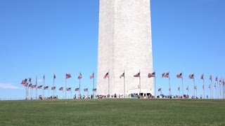 Base of Washington Monument with visitors 4k