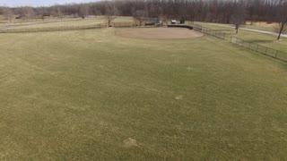 Baseball field during off season of winter aerial shot 4k