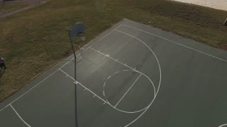 Basketball skills practiced by young player aerial view 4k