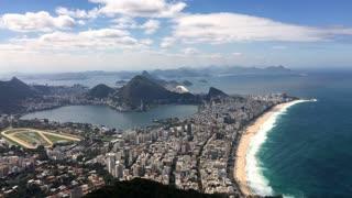 Beautiful view of Rio de Janeiro beach and city from top of mountain 4k