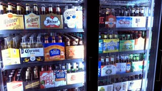 Beer refrigerator at local grocery market 4k