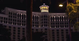 Bellagio with water show at night 4k