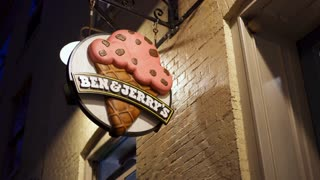 Ben and Jerry ice cream shop sign exterior of building 4k