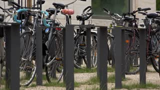 Bike rack at University 4k