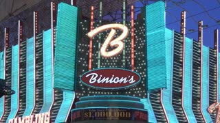 Binions flashing lights at entrance of Casino on Fremont Street 4k