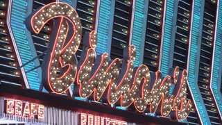 Binions Hotel and Casino in Las Vegas flashing sign 4k