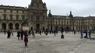 Birds flying in front of entrance to Louvre slow motion 720p