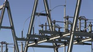 Birds on city power generator close up