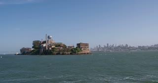 Boat circling Alcatraz Island 4k