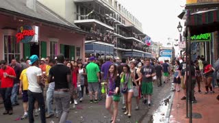 Bourbon Street with crowds of people during day