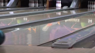 Bowling ball going down alley 4k