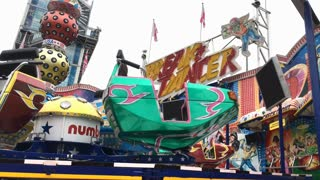 Break Dancer carnival ride at Dippemess in Frankfurt Germany 4k