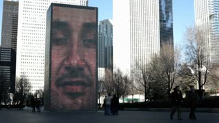 Brick face at Crown Fountain in downtown Chicago
