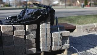 Bricks stacked up at construction area
