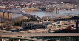 Bridge over Ohio River in downtown Cincinnati 4k