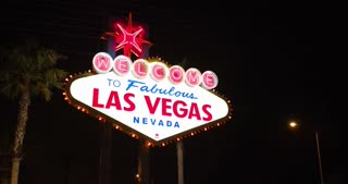 Bright Las Vegas Nevada sign at night 4k
