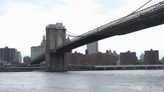 Brooklyn Bridge of New York City on cloudy day 4k