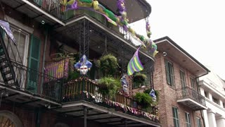 Bubbles flying around streets of Mardi Gras