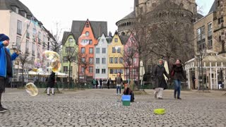 Bubbles in the streets of Cologne Germany 4k
