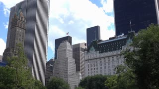 Building of New York City establishing shot from central park 4k
