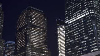 Buildings exterior establishing night shot of New York City 4k