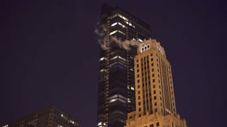 Buildings in downtown Chicago Illinois at night 4k