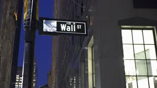 Business district sign for Wall Street in downtown NYC 4k