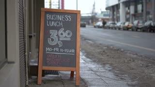 Business lunch sign at European restaurant