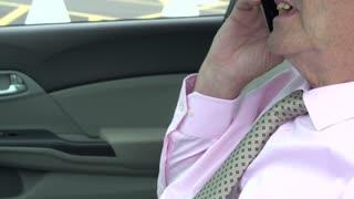 Businessman having phone conversation in car
