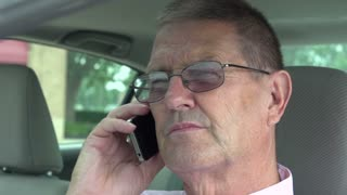 Businessman in driver seat talking on phone