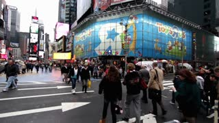 Busy crosswalk in times square NYC