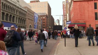 Busy Indianapolis street during Super Bowl 46