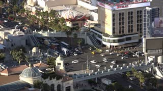 Busy intersection of downtown Las Vegas aerial shot 4k