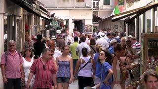 Busy Italian street market in Venice