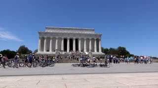 Busy Lincoln Memorial tourist attraction in Washington DC 4k
