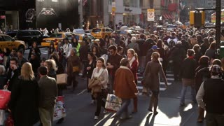 Busy sidewalk streets of new york city