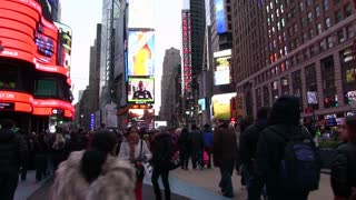 Busy streets in Time Square NYC