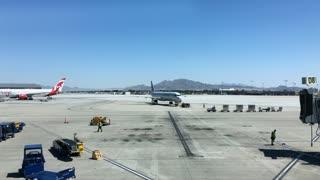 Busy Tarmac of airport at McCarran International Las Vegas Nevada 4k