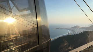 Cable car at the top of Sugarloaf mountain in Rio 4k
