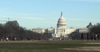 Capitol Building seen from grass at National Mall Washington DC 4k