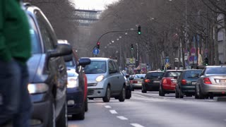 Car traffic in downtown Cologne Germany 4k