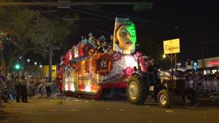 Carmen Float in Endymion parade throwing beads