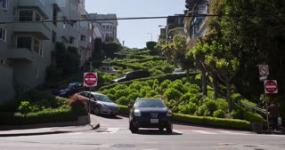 Cars coming down Lombard Street in San Francisco 4k