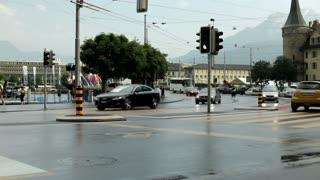 Cars driving through Luzern Switzerland