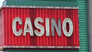 Casino neon light sign flashing
