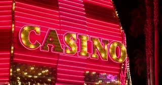 Casino sign flashing at night 4k